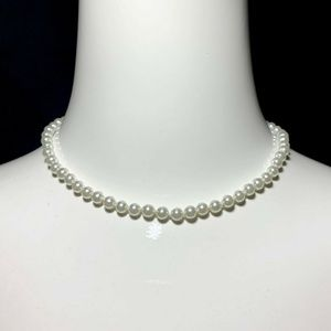 Vintage Costume White Pearl Beaded Choker Necklace